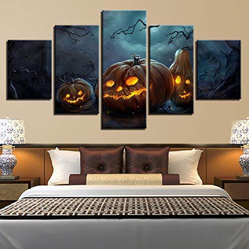 Wanddekoration Vlies Leinwandbild Design Wand BildKombination Dekorative Malerei Inkjet Halloween Kürbis Schlafzimmer Home Malerei Kern Moderne Malerei Poster, A, 20X35Cmx2 20X45Cmx2 20X55Cmx1