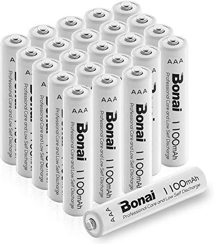 BONAI Akku AAA wiederaufladbare Batterien hohe Kapazität 1100mAh AAA NI-MH Akkubatterien (24 Stück)
