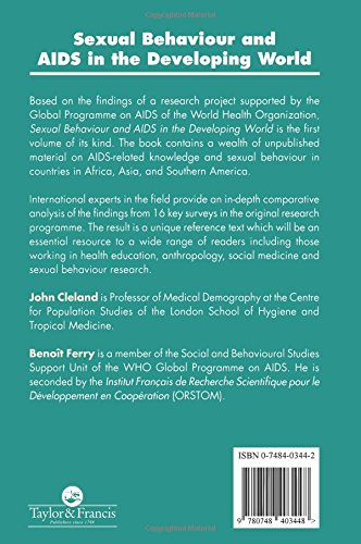 Sexual Behaviour and AIDS in the Developing World (Social Aspects of AIDS)