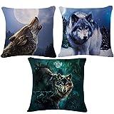 Meliya lino y algodón manta fundas de cojín lobo salvaje Impresión decorativa Funda de...