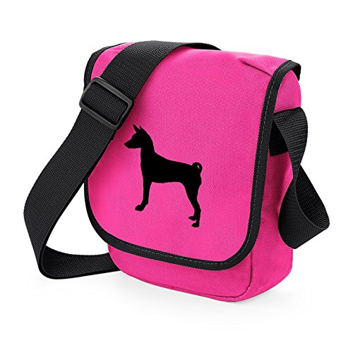 Bag Pixie - Borsa a tracolla unisex adulti Basenji Black on Pink