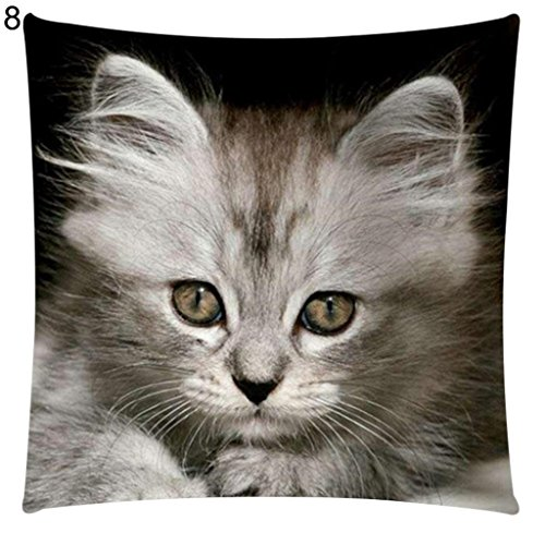Hearsbeauty Kissenbezug mit Katzenmotiv, Baumwolle, Leinen, für Autositz, Sofakissen 8#