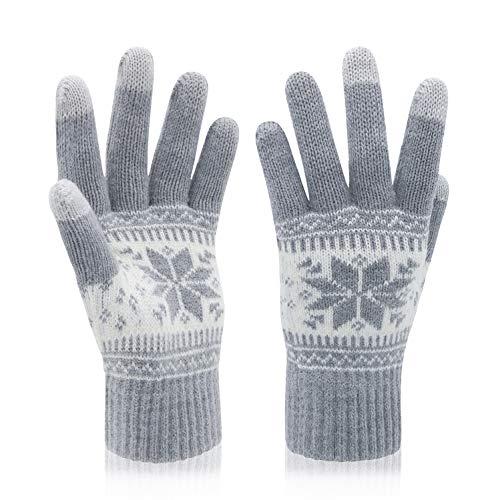 VENI MASEE Kerstmis Lover Snowprint Keep Warm Iphone Touch Screen handschoenen, 3005_damen Grau, 20cm