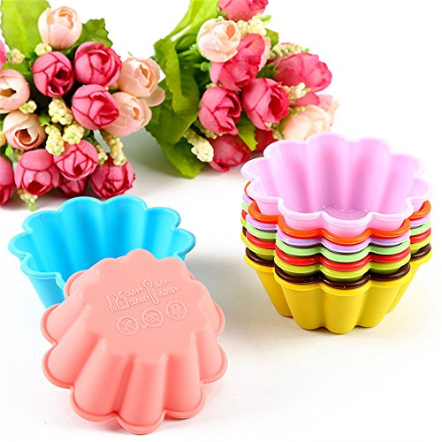 10Pcs Flowers Shape Silicone Muffin Cases Cupcake Liner Bake Mold Chocolate Mould Soap Molds