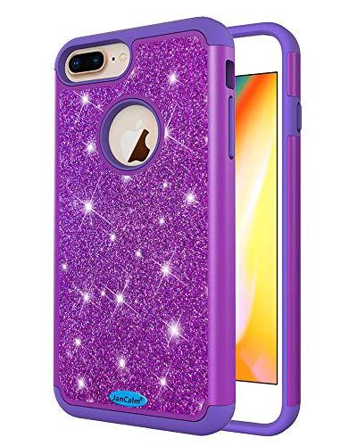 JanCalm Glitzer-Schutzhülle für iPhone 6 Plus/6S Plus/7 Plus/8 Plus, modisch, glitzernd, zweilagig, Hybrid, stoßfest, für Mädchen, Frauen, mit Kristallstift, violett (Entsperrt Iphone 6 Plus)