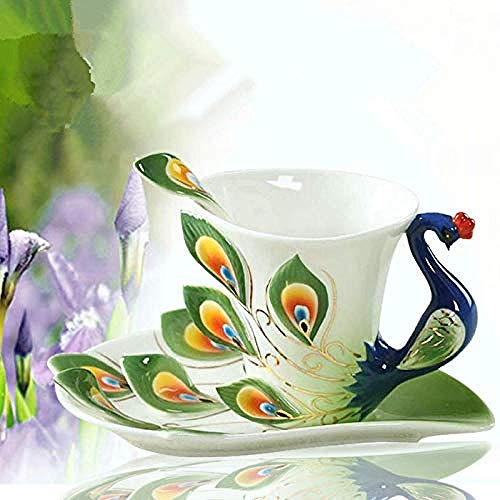 3D Pfau Emaille Kaffeetasse Tasse Set Keramik Tee Milch Drink Kreative China Knochen Freund Geschenk @ Blau@Hellgrün