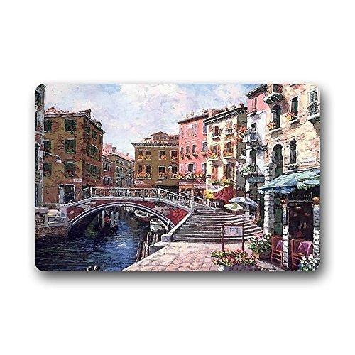 Wamnu Hi,Doormat Design Fashion European Style Doormat Most Beautiful Italy Venice Watercolor Painting Doormat Door Mat Floor Mat Decor Gorgeous Mat 23.6 x 15.7 Inches