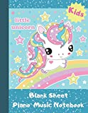 """Blank Sheet Piano Music Notebook Kids: Unicorn Wide Staff Manuscript Paper Songwriting Composition Journal 8.5""""x11""""inch, 110 pages..."""