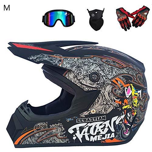 CatcherMy Motorradhelm, Motorrad Motocross Motorradhelme & Windschutzmaske & Handschuhe & Brille Maske Männer Langlauf Motorrad Vollhelm Road Racing Helm (4 des Sets)