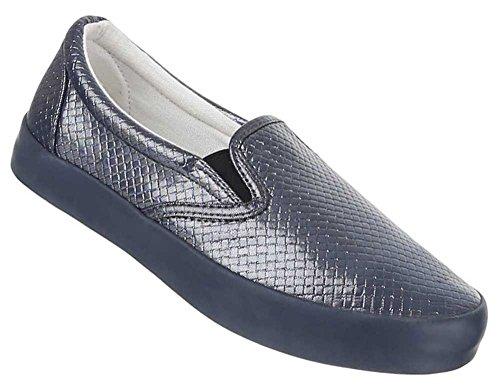 Damen Schuhe Halbschuhe Slipper Freizeitschuhe Schwarz Grau Grau