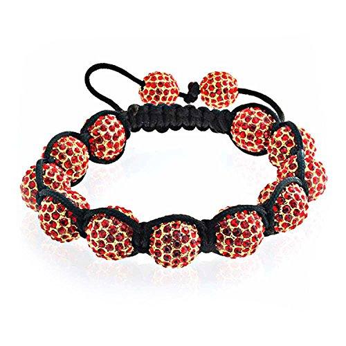 Bling Jewelry Shamballa inspiriert Armband rote Kristall Perlen 12 mm Legierung