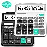 Taschenrechner, Splaks 2 Pack 12-stellig Standard Funktion Tischrechner Bürorechner Rechenmaschine Solar- und AA Batterie betrieb Calculator mit großem Display (Schwarz + Silber)