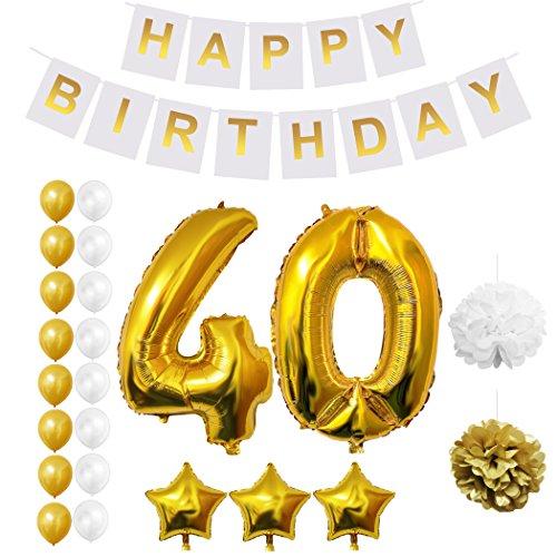 Globos Cumpleaños Happy Birthday, Suministros y Decoración por Belle Vous - Globo Grande de Aluminio - Decoración Globos De Látex Dorado y Blanco - Apto para Todos los Adolescentes (Age 40)