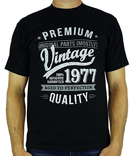 1977 Vintage Year - Aged To Perfection - 40th Birthday Gift / Present Mens T-Shirt Black 2XL