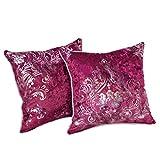 Nunubee Kissenbezug Europäischer Stil Samt bronzierendes Material Dekoration deko kissen deko wohnzimmer Autodekoration sofa cover, Rose rot 50x50cm