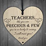 Red Ocean Teachers Are Precious Wooden Hanging Heart Shabby Chic Thank You Plaque Gift