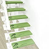 LMXJB Stairs Mat 15 Tücke,Rutschfest Leuchtende Matte Langlebig Selbstklebend Treppe Bodenschutzstufe,Startseite Hotel Dekore,Polyester,Green,70 * 22 * 4.5Cm