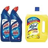 Harpic Original Powerplus - 1 L (Pack of 2) & Disinfectant Floor Cleaner Citrus, 2 L Combo