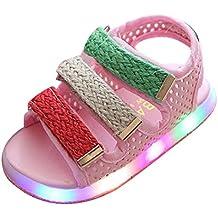 LED Sandalias niños pequeños luz de los zapatos de playa intermitente Juleya rosado Size 22