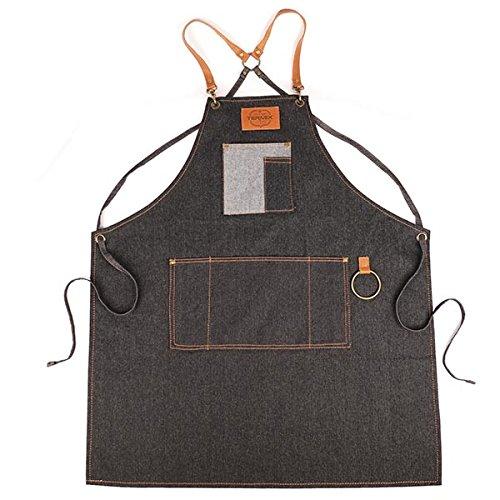 Termix Official Barber Apron - widerstandsfähiges Material aus dunklem Denim mit Braunen Lederarmlöchern (Braune Denim-stoff)
