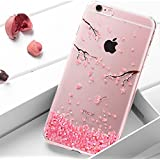 iPhone 7 Coque Rose,iPhone 7 Housse Etui Beautiful,URFEDA Fashion Belle Vintage élégant Luxury Transparent Clear View Ultra-Mince Thin Soft Gel Silicone Rose Scintiller Glitter Coque Cover with Rose Cerise Diamant Bling Bling Gliter Sparkle Etui de Protection pour Femmes Fille Souple Cristal Clair Gel TPU Bumper Anti Poussiere Resistance Anti-rayures Case Cover Couverture Pour iPhone 7