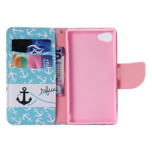 Ooboom® Sony Xperia Z5 Coque PU Cuir Flip Housse Étui Cover Case Wallet Portefeuille Fonction Support avec Porte-cartes pour Sony Xperia Z5 - Don't Touch My iPhone Ancre Bleu