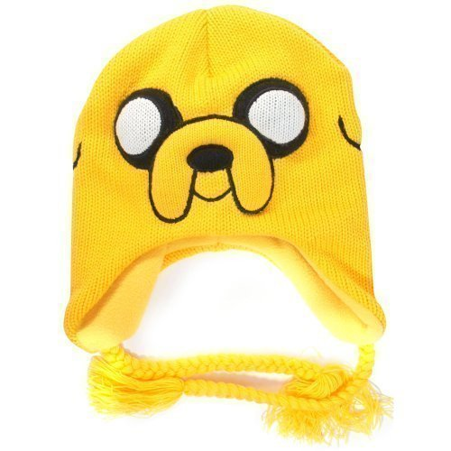 irt Adventure Time Jake Acryl-Mütze mit Befestigungsbändern, geflochten, Gelb (Jake Adventure Time Kostüm)