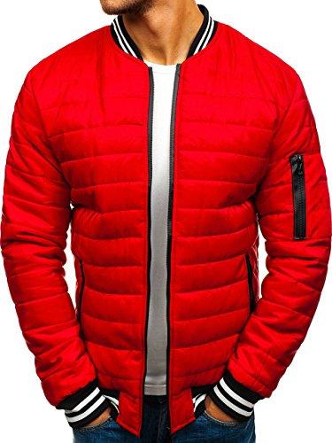 BOLF Herren Bomberjacke Steppjacke Zipper Stehkragen Street Style J.Style RZ08 Rot XL [4D4]