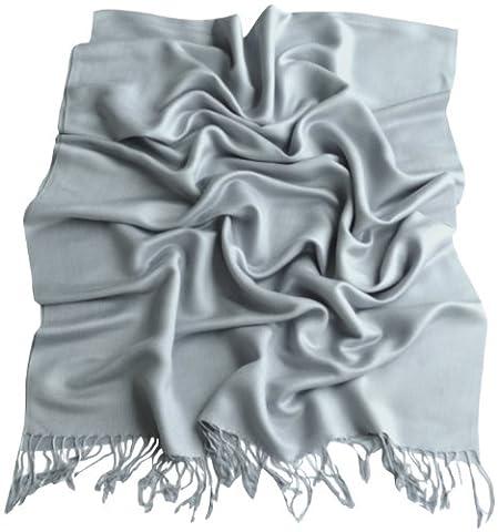 Blue Grey Solid Colour Design Shawl Pashmina Scarf Wrap Stole CJ Apparel NEW