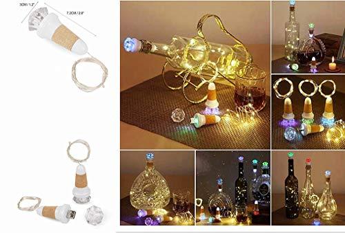 LED Flaschenlicht 15 LEDs 1.3M Lichterkette Kupferdraht batteriebetriebene Weinflasche Lichter mit Kork Schnurlicht für DIY Deko Weihnachten Party Urlaub Stimmungslichter (Farbe)