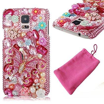 Pink Strass Perlen, Blumen Trim glänzend Diamant Bling Umfasst die Fällen für Samsung Galaxy S5S6Edge S5Note 43, for Samsung Galaxy S8 G9500 Blume Trim