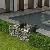 Tuduo Stahl Gabionenkorb Pflanzgefäß Hochbeet Silber Schutzzaun Sichtschutz für Balkon Garten