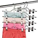 ZOBER Premium Non Slip Hangers - Multi Trouser Hanger with Adjustable Clips, Space Saving 4-on-1 GAIN 80% More Space, Skirt Hangers, Durable Metal Clothes Hanger- Slack, Jean, Towels