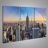 islandburner Bild Bilder auf Leinwand New York City-Skyline mit städtischen Wolkenkratzern und Regenbogen. Verschiedene Formate ! Direkt vom Hersteller ! Bilder ! Wandbild Poster Leinwandbilder ! IJR-3P