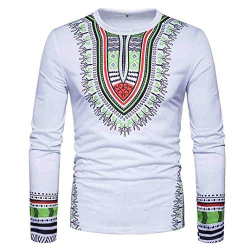Herren Stilvolle-print T-shirt (Shirt Herren,Binggong Männer Casual African Print O-Ausschnitt Reizvolle Pullover langärmelige T-Shirt Elegant Top Freizeit Bluse Stilvoll Hemd Mode Bekleidung (Weiß, M))
