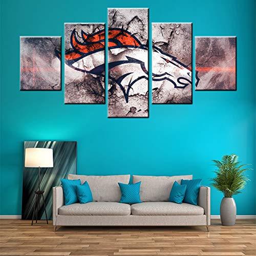 alicefen Team Logo Vintage Paard 5 Panelen Kunstwerk Bild auf Leinwand Bild auf Leinwand Nordic Poster Bild auf Leinwand Wohnkultur Wohnzimmer Leinwanddrucke-Frame