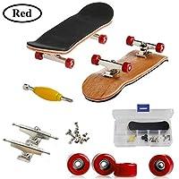 Mini Diapasón, Patineta de Dedos Profesional Maple Wood DIY Assembly Skate Boarding Toy Juegos de Deportes Regalo de Navidad Para Niños (Rojo) de AumoToo