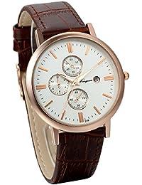 Jewelrywe Retro Vintage Relojes de Hombre Caballero Cuarzo de Cuero Marrón, Calendario 3 Ojos Decorativos Clásico Reloj de Pulsera para hombres