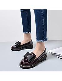 College pequeños zapatos de cuero otoño invierno zapatos salvajes, hijos zapatos con una áspera marea ,41, vino...