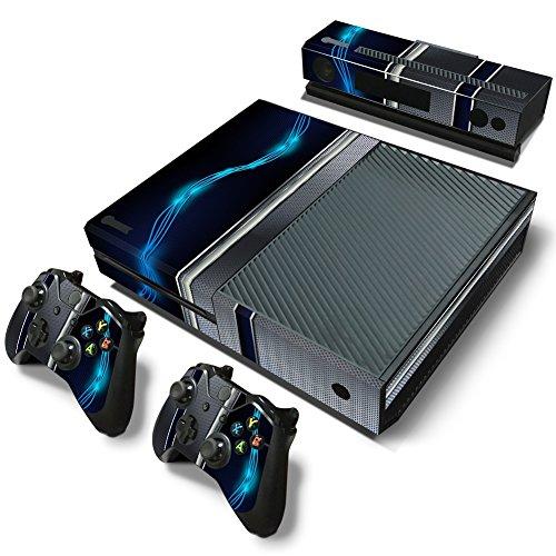 46 North Design Xbox One Pegatinas De La Consola Blue Silver Metal + 2 Pegatinas Del Controlador & 1 Kinect Sticker