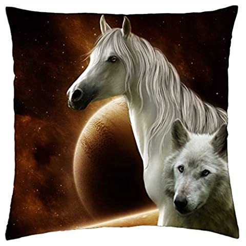 iRocket - Horse and Wolf - Throw Pillow Cover (24