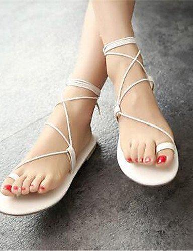 LFNLYX Chaussures Femme-Bureau & Travail / Décontracté-Noir / Blanc-Talon Plat-Tongs-Sandales-Similicuir White