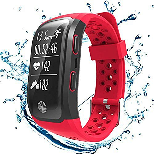 S908GPS Smart Bands mit Herzfrequenz Sleep Monitor Sitzende Reminder Schrittzähler IP68Wasserdicht Fitness Tracker-Smart Armbänder für iPhone Android, Rot -