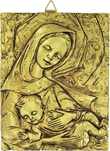 Ferrari & Arrighetti Cuadro Virgen María con el Niño Jesús de Resina - 13 x 16 cm