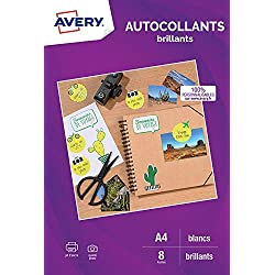 AVERY - Pochette de 8 autocollants brillants qualité photo, Personnalisables et imprimables, Format 199,6 x 289,1 mm, Impression jet d'encre,
