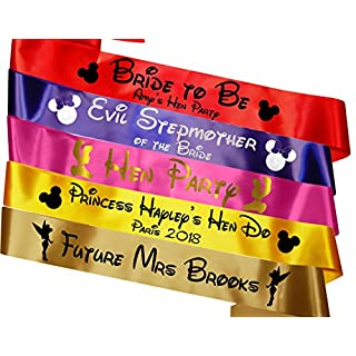 My Pretty Little Gifts Personalised Disney Hen Party Sashes - Perfect for The Disney Themed Hen Party or Wedding!