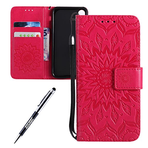 iPhone X Custodia in Pelle, Cover Custodia Per iPhone X, JAWSEU Retro Colore solido [Shock-Absorption][Anti Scratch] Wallet PU Leather Folio Case Cover per iPhone X Custodia Portafoglio con Super Sott Girasole, Rosso