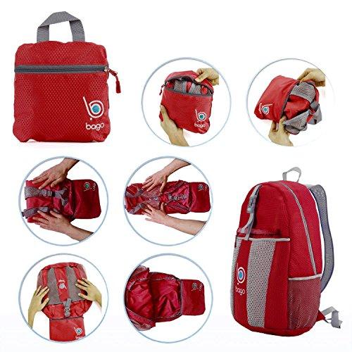 Zaino Confezionabile per Uomo, Donna e Bambini - Zaino Leggero e Pieghevole - Usa come borsa da viaggio, Zainetto, Borsetto a mano per avere più spazzio per il Bagaglio - Si ripiega nella sua Tasca In Red