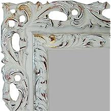 Espejo Decorativo, Espejo de Pared hecho en madera CMGdecor MOD: 403-20 (BLANCO CON ORO Y PLATA, 50 X 70 Cm)