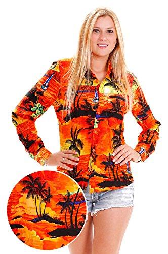 King-kameha-Funky-camisa-de-Hawaii-para-mujer-manga-larga-front-pocket-Surf-palmeras-color-naranja-naranja-naranja-XXXXXXL